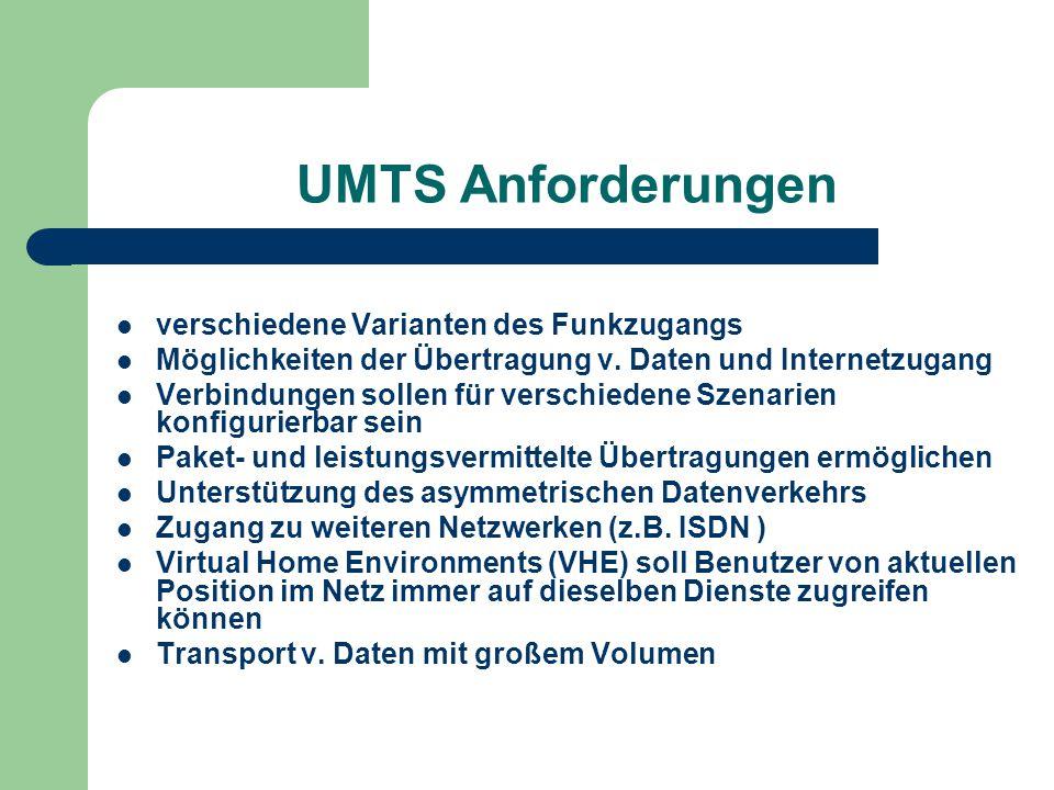 UMTS Anforderungen verschiedene Varianten des Funkzugangs