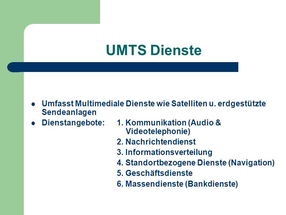 UMTS Dienste Umfasst Multimediale Dienste wie Satelliten u. erdgestützte Sendeanlagen.