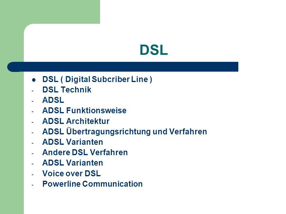 DSL DSL ( Digital Subcriber Line ) DSL Technik ADSL