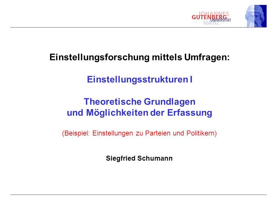 Einstellungsforschung mittels Umfragen: Einstellungsstrukturen I Theoretische Grundlagen und Möglichkeiten der Erfassung (Beispiel: Einstellungen zu Parteien und Politikern) Siegfried Schumann