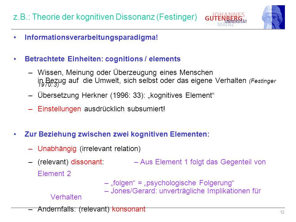 z.B.: Theorie der kognitiven Dissonanz (Festinger)