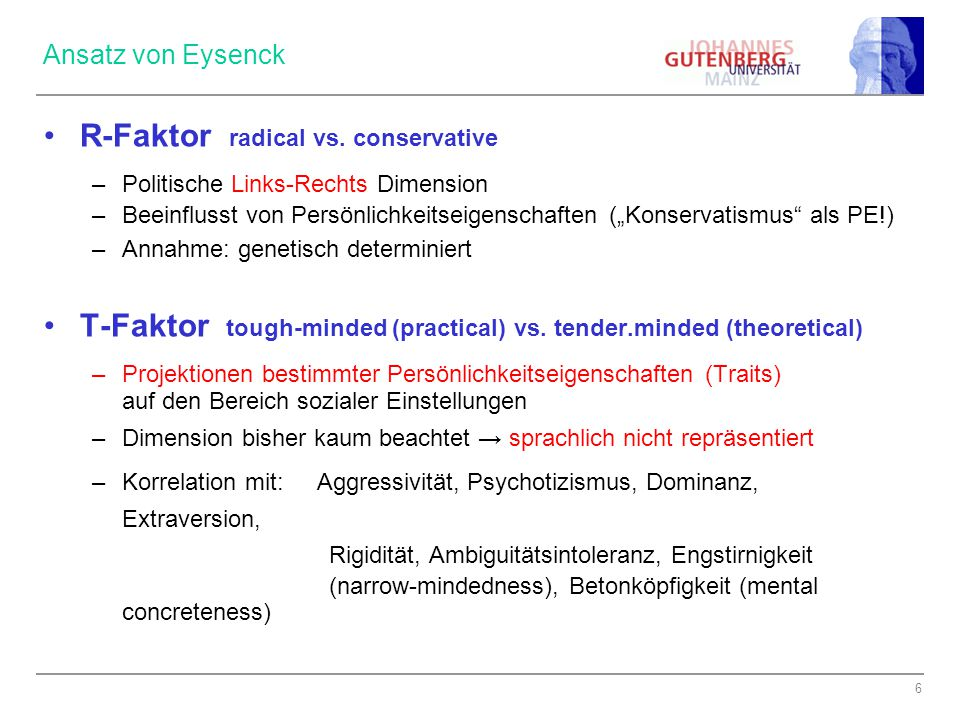R-Faktor radical vs. conservative