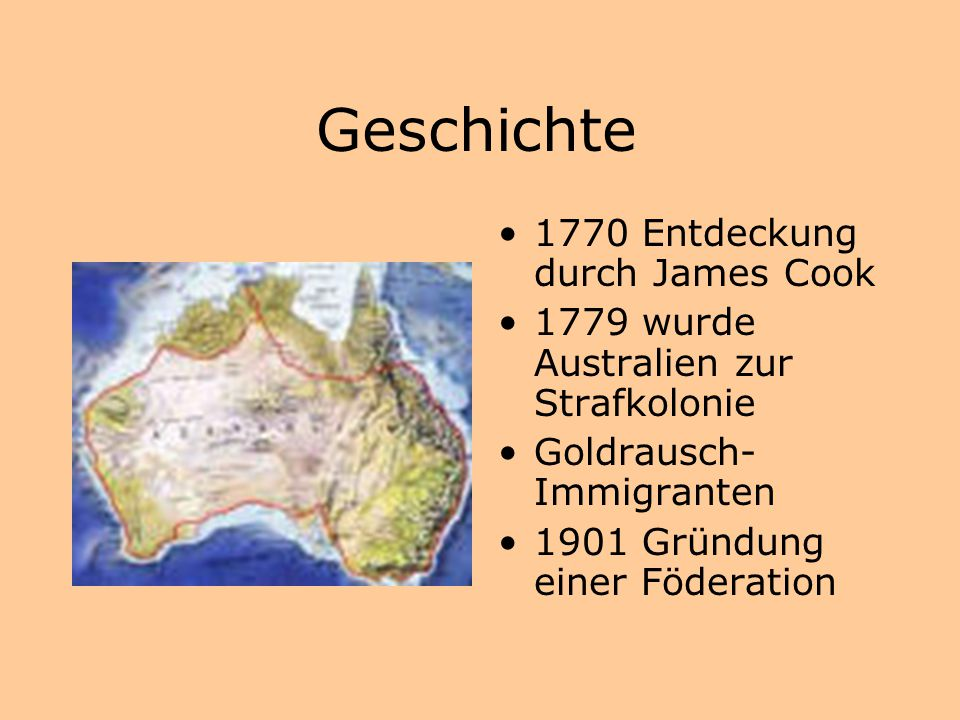 Geschichte 1770 Entdeckung durch James Cook