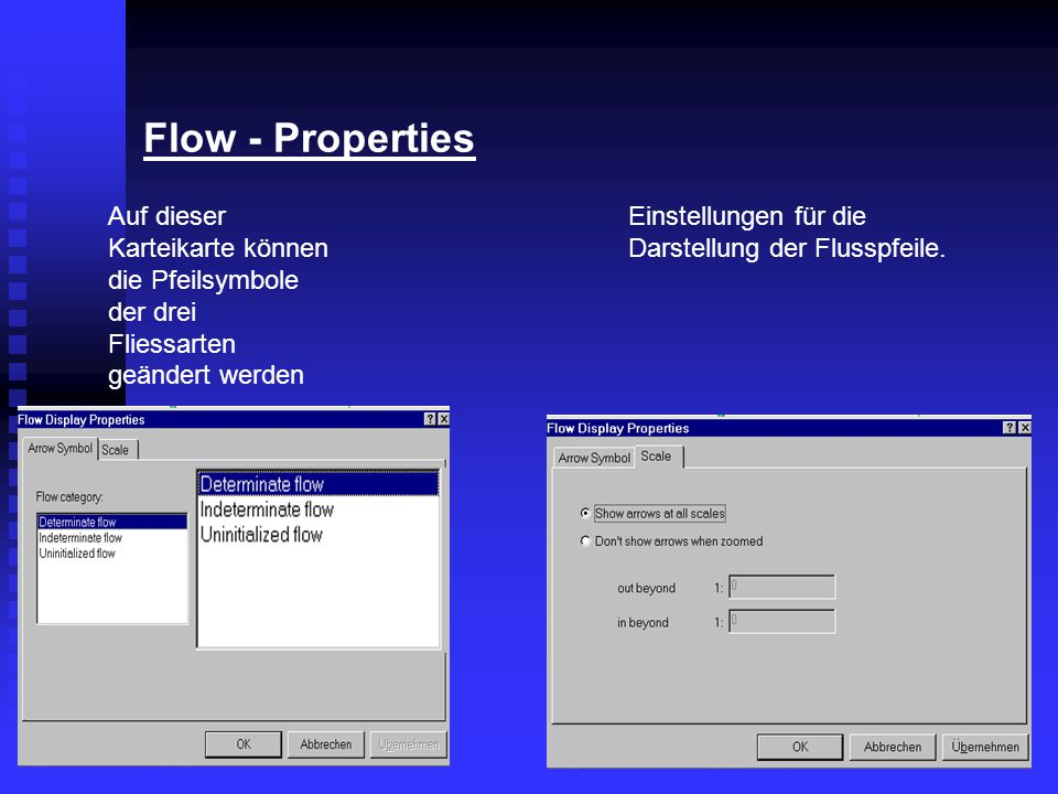 Flow - Properties Auf dieser Karteikarte können die Pfeilsymbole der drei Fliessarten geändert werden.