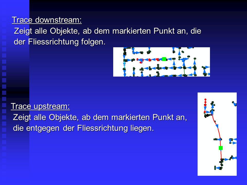 Trace downstream: Zeigt alle Objekte, ab dem markierten Punkt an, die. der Fliessrichtung folgen. Trace upstream:
