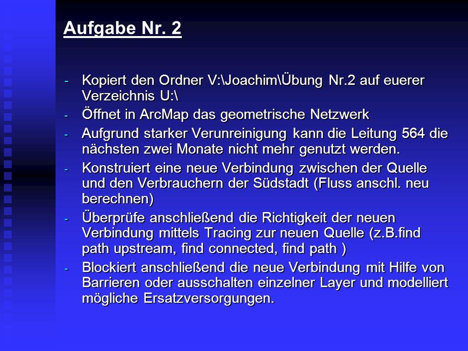 Aufgabe Nr. 2 Öffnet in ArcMap das geometrische Netzwerk