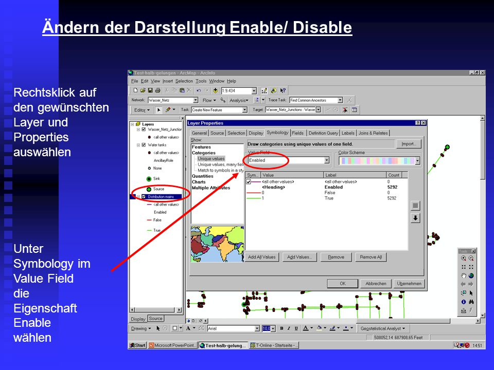Ändern der Darstellung Enable/ Disable