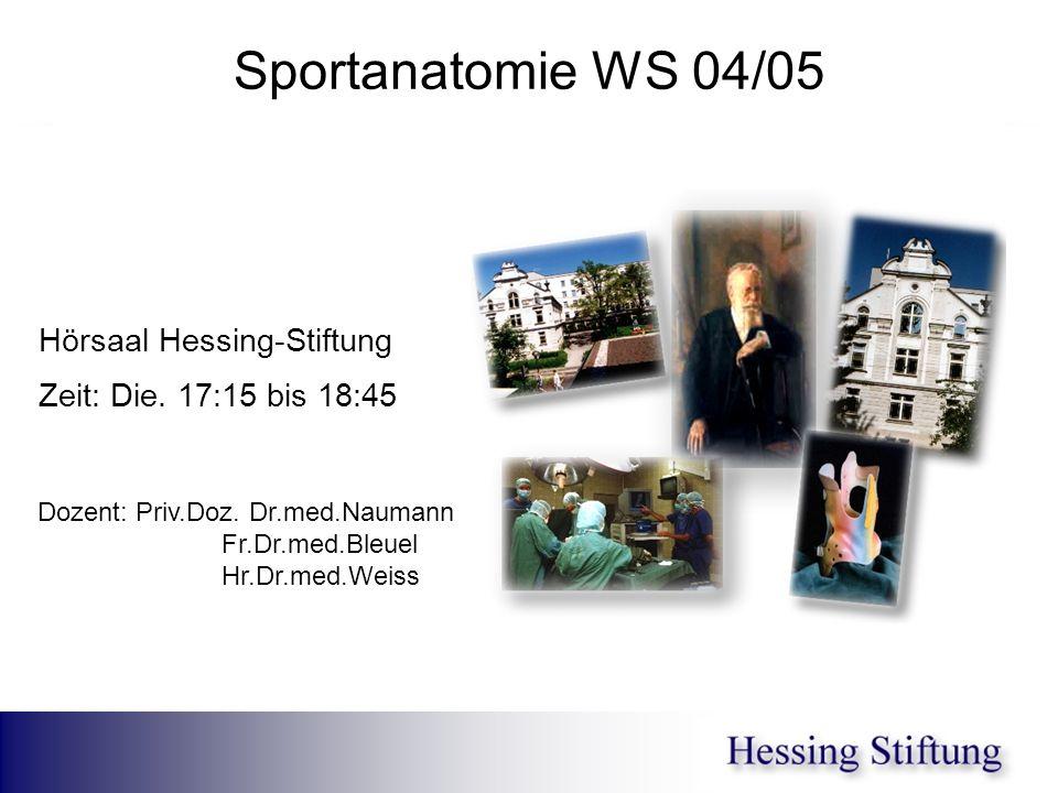 Sportanatomie WS 04/05 Hörsaal Hessing-Stiftung Zeit: Die. 17:15 bis 18:45. Dozent: Priv.Doz. Dr.med.Naumann.