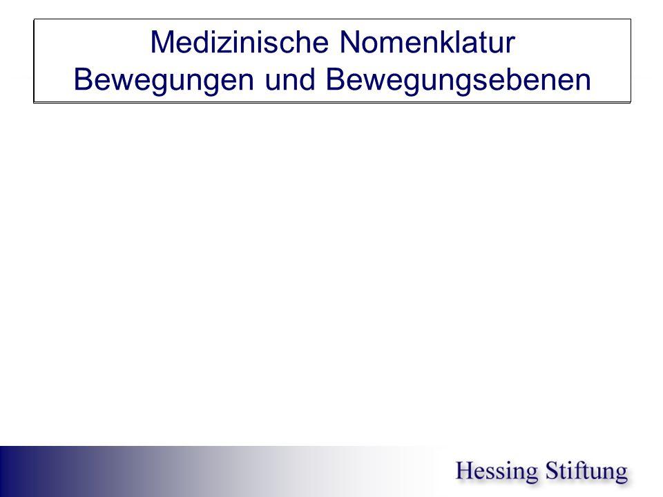 Medizinische Nomenklatur Bewegungen und Bewegungsebenen