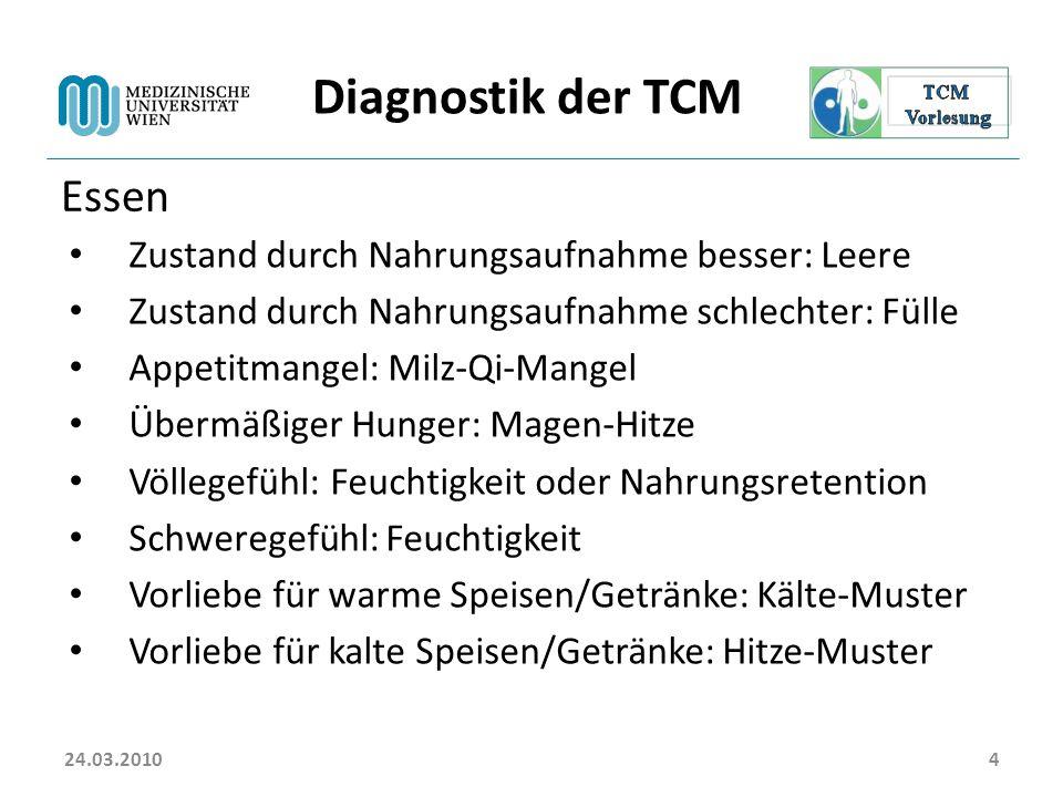 Diagnostik der TCM Essen Zustand durch Nahrungsaufnahme besser: Leere