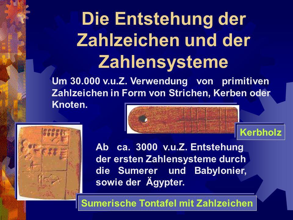 Die Entstehung der Zahlzeichen und der Zahlensysteme