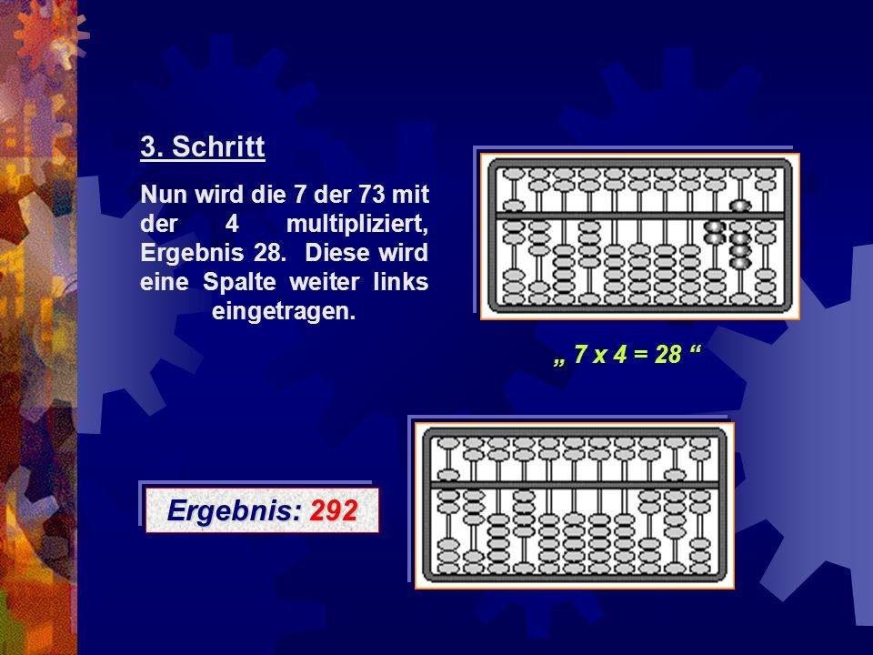 3. Schritt Nun wird die 7 der 73 mit der 4 multipliziert, Ergebnis 28. Diese wird eine Spalte weiter links eingetragen.