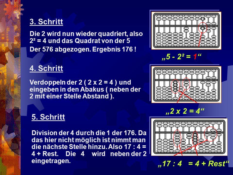 """3. Schritt """"5 - 2² = 1 4. Schritt """"2 x 2 = 4 5. Schritt"""