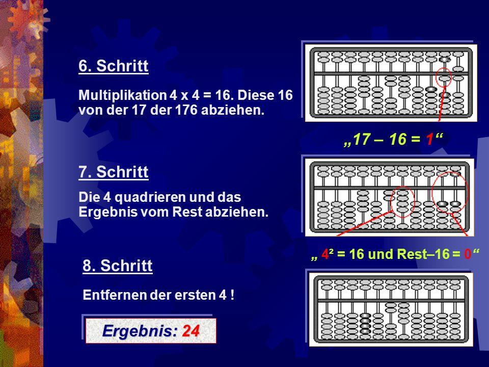 "6. Schritt ""17 – 16 = 1 7. Schritt "" 4² = 16 und Rest–16 = 0"