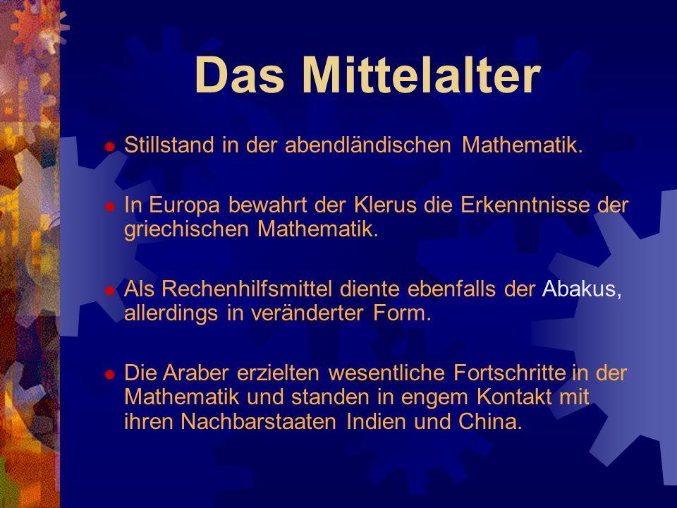 Das Mittelalter Stillstand in der abendländischen Mathematik.