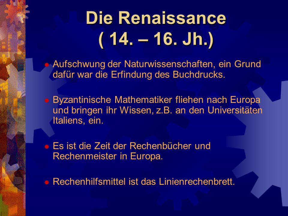 Die Renaissance ( 14. – 16. Jh.) Aufschwung der Naturwissenschaften, ein Grund dafür war die Erfindung des Buchdrucks.