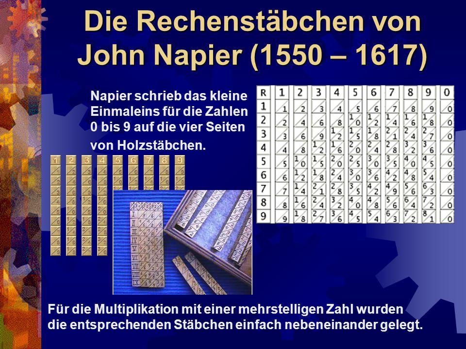 Die Rechenstäbchen von John Napier (1550 – 1617)