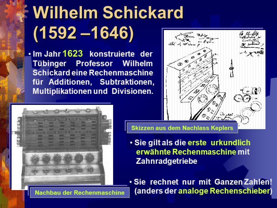 Skizzen aus dem Nachlass Keplers Nachbau der Rechenmaschine