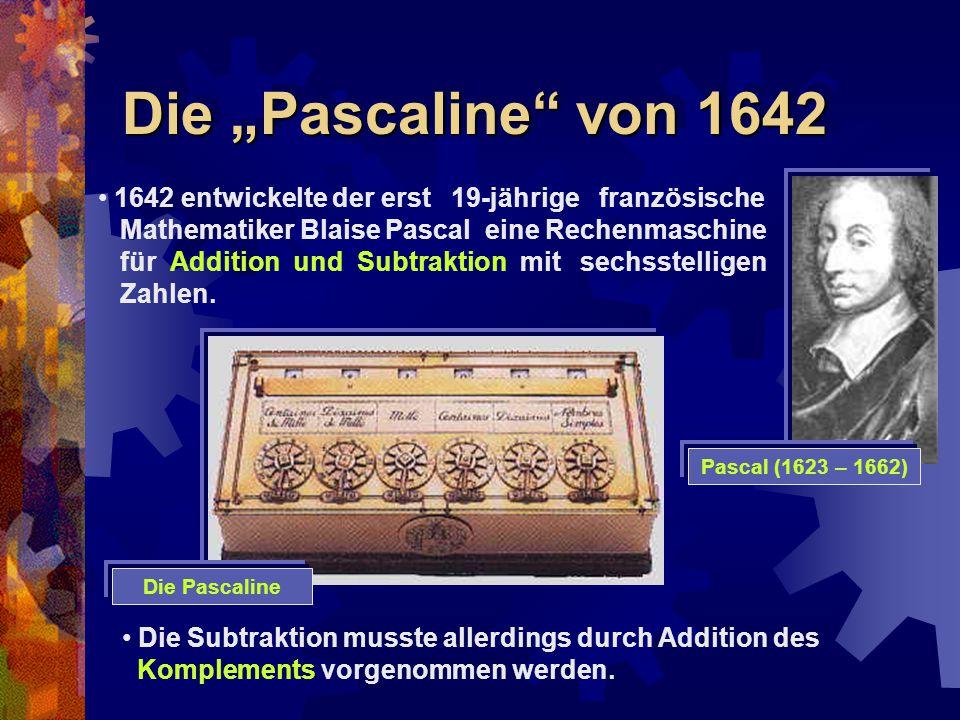 """Die """"Pascaline von 1642 1642 entwickelte der erst 19-jährige französische. Mathematiker Blaise Pascal eine Rechenmaschine."""