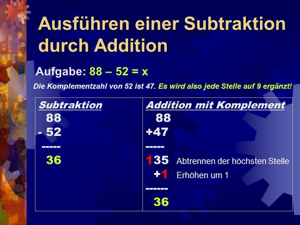 Ausführen einer Subtraktion durch Addition