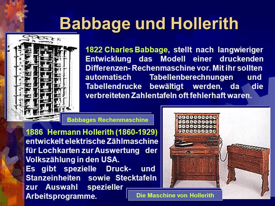Babbages Rechenmaschine Die Maschine von Hollerith