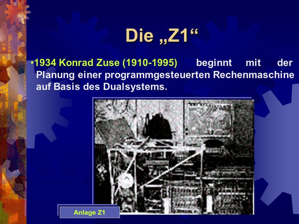 """Die """"Z1 1934 Konrad Zuse (1910-1995) beginnt mit der"""