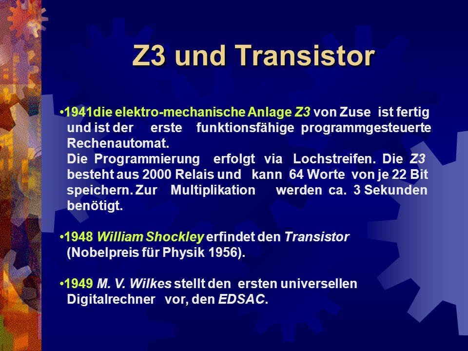 Z3 und Transistor 1941die elektro-mechanische Anlage Z3 von Zuse ist fertig. und ist der erste funktionsfähige programmgesteuerte.