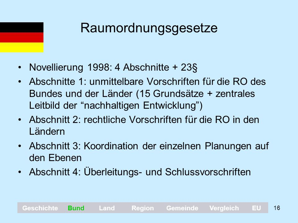 Raumordnungsgesetze Novellierung 1998: 4 Abschnitte + 23§
