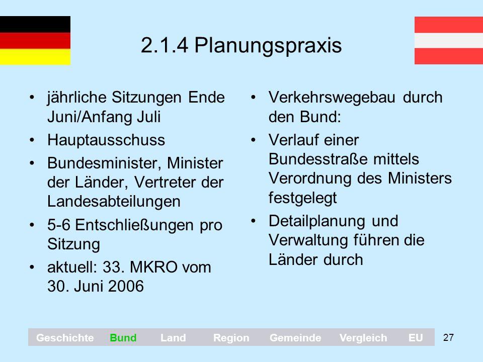 2.1.4 Planungspraxis jährliche Sitzungen Ende Juni/Anfang Juli