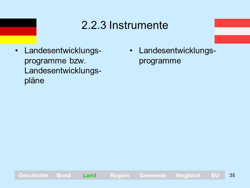 2.2.3 Instrumente Landesentwicklungs-programme bzw. Landesentwicklungs-pläne. Landesentwicklungs-programme.