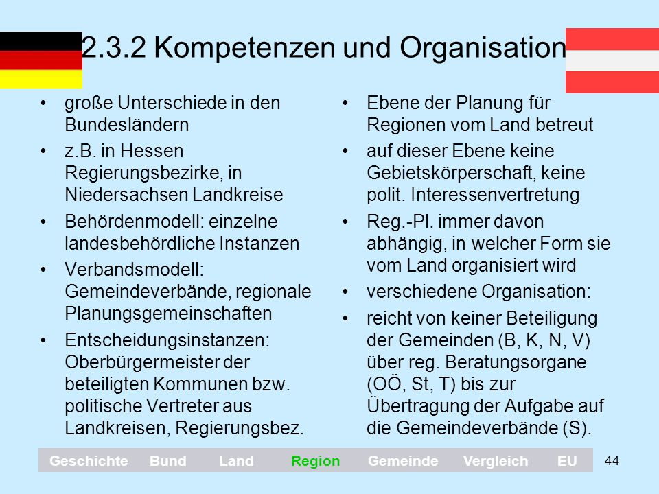 2.3.2 Kompetenzen und Organisation