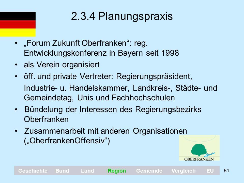 """2.3.4 Planungspraxis """"Forum Zukunft Oberfranken : reg. Entwicklungskonferenz in Bayern seit 1998. als Verein organisiert."""