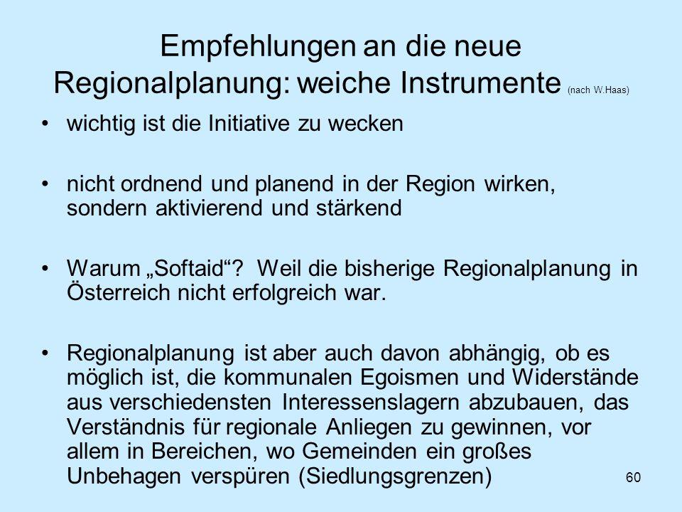 Empfehlungen an die neue Regionalplanung: weiche Instrumente (nach W