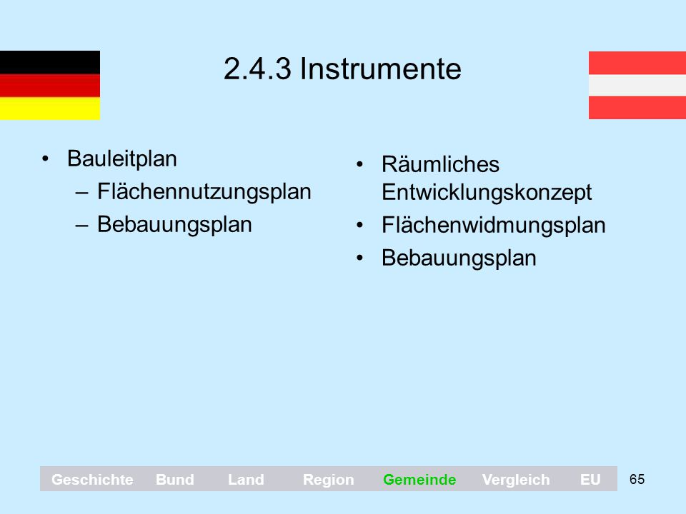 2.4.3 Instrumente Bauleitplan Räumliches Entwicklungskonzept