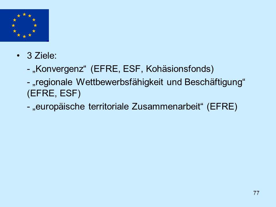 """3 Ziele: - """"Konvergenz (EFRE, ESF, Kohäsionsfonds) - """"regionale Wettbewerbsfähigkeit und Beschäftigung (EFRE, ESF)"""