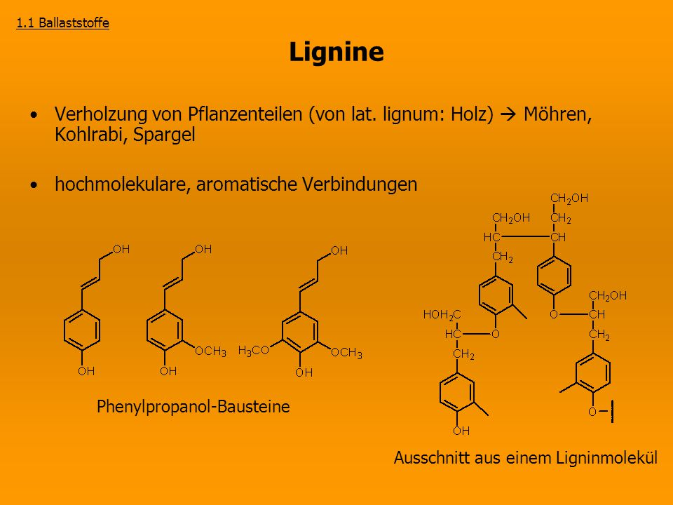 1.1 Ballaststoffe Lignine. Verholzung von Pflanzenteilen (von lat. lignum: Holz)  Möhren, Kohlrabi, Spargel.