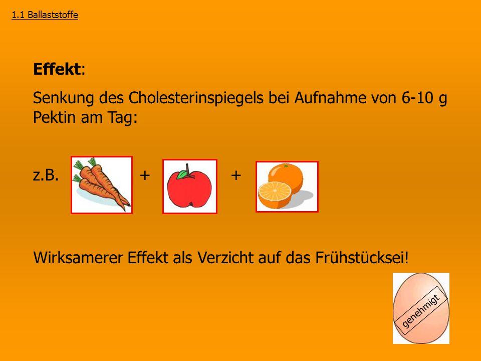 Senkung des Cholesterinspiegels bei Aufnahme von 6-10 g Pektin am Tag: