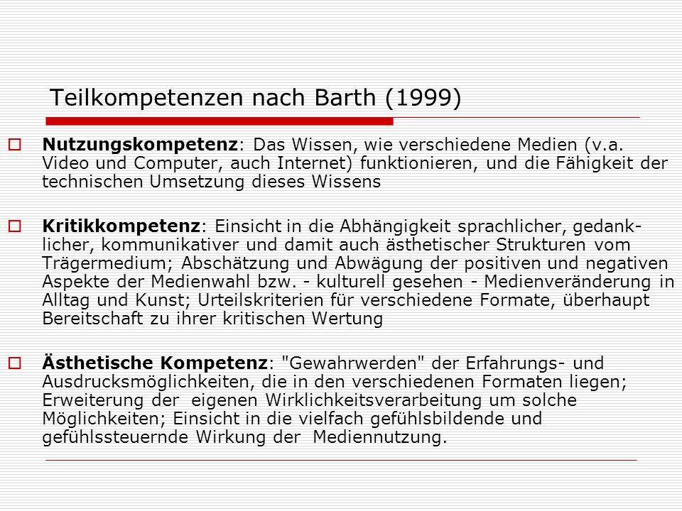 Teilkompetenzen nach Barth (1999)