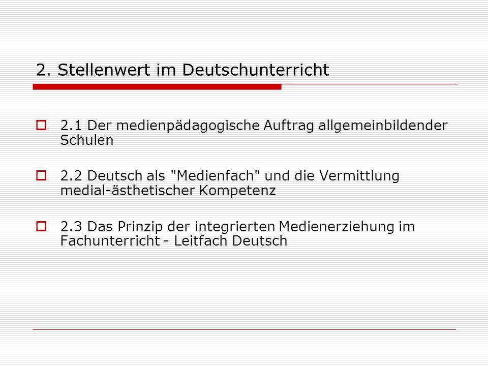 2. Stellenwert im Deutschunterricht