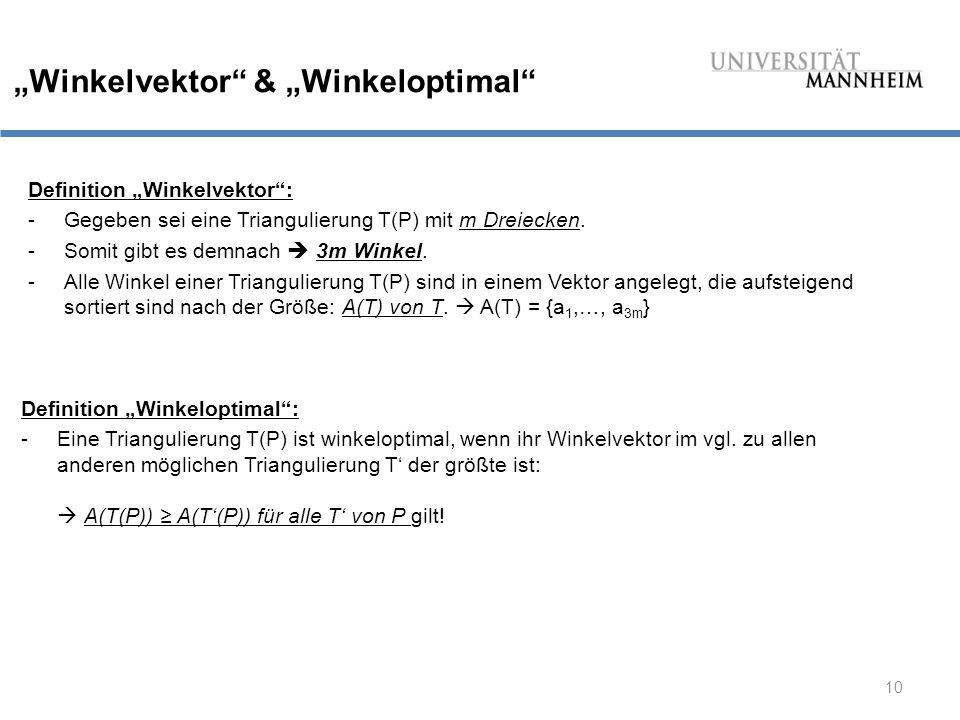 """""""Winkelvektor & """"Winkeloptimal"""
