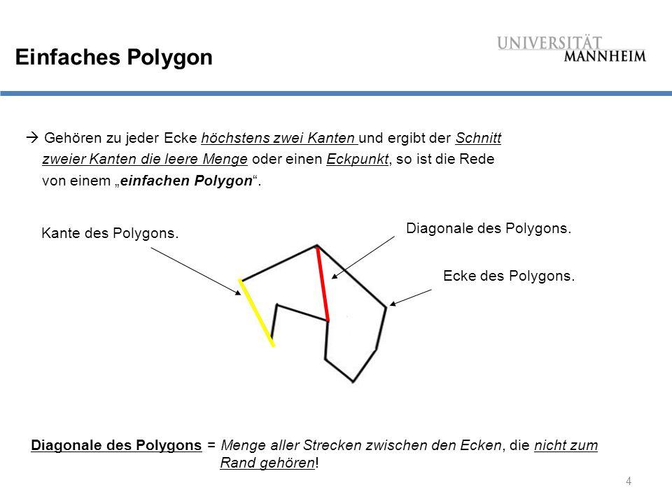 Einfaches Polygon  Gehören zu jeder Ecke höchstens zwei Kanten und ergibt der Schnitt.