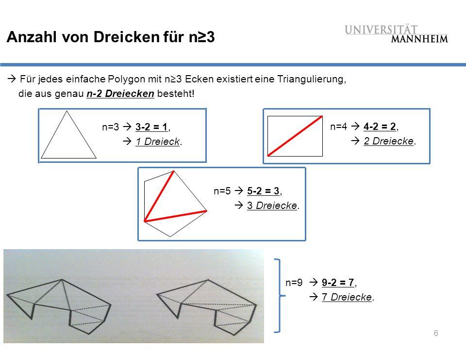 Anzahl von Dreicken für n≥3