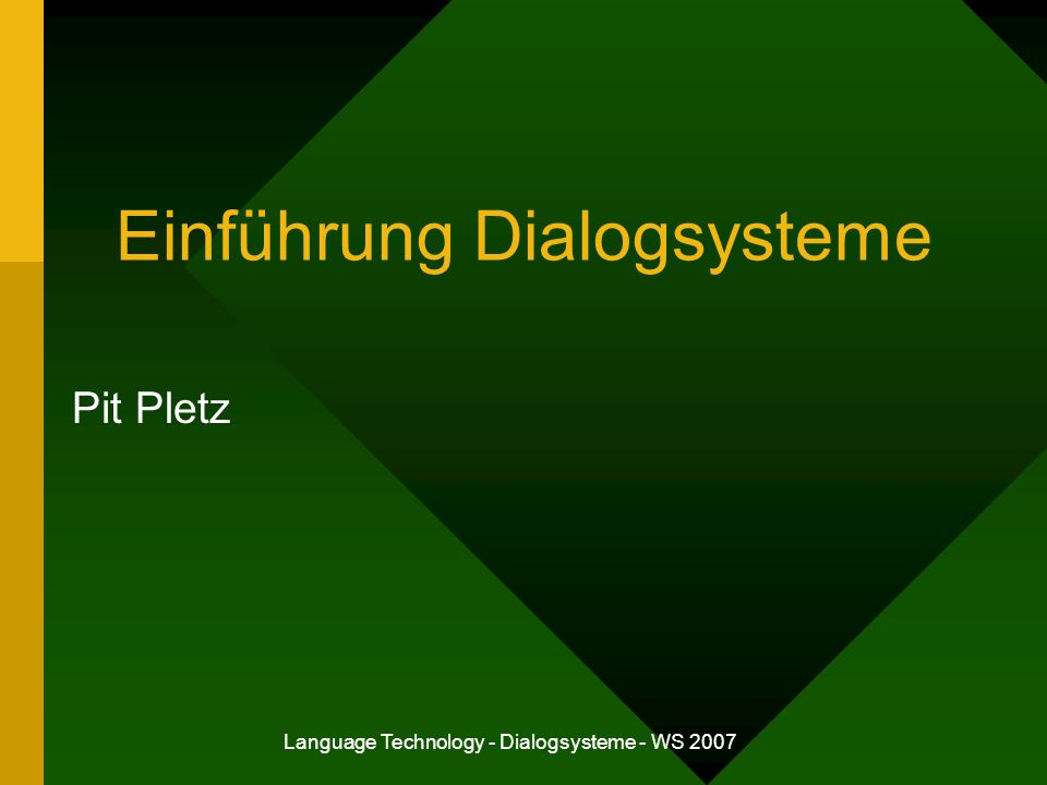 Einführung Dialogsysteme