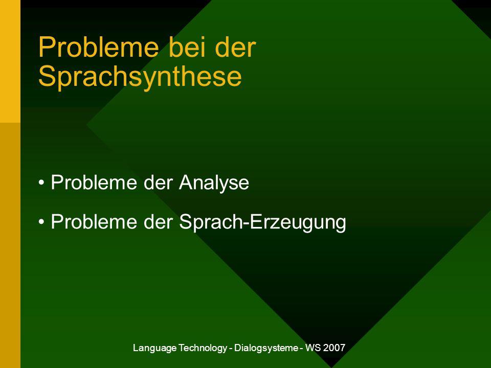Probleme bei der Sprachsynthese