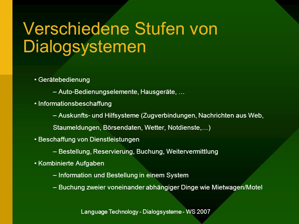 Verschiedene Stufen von Dialogsystemen