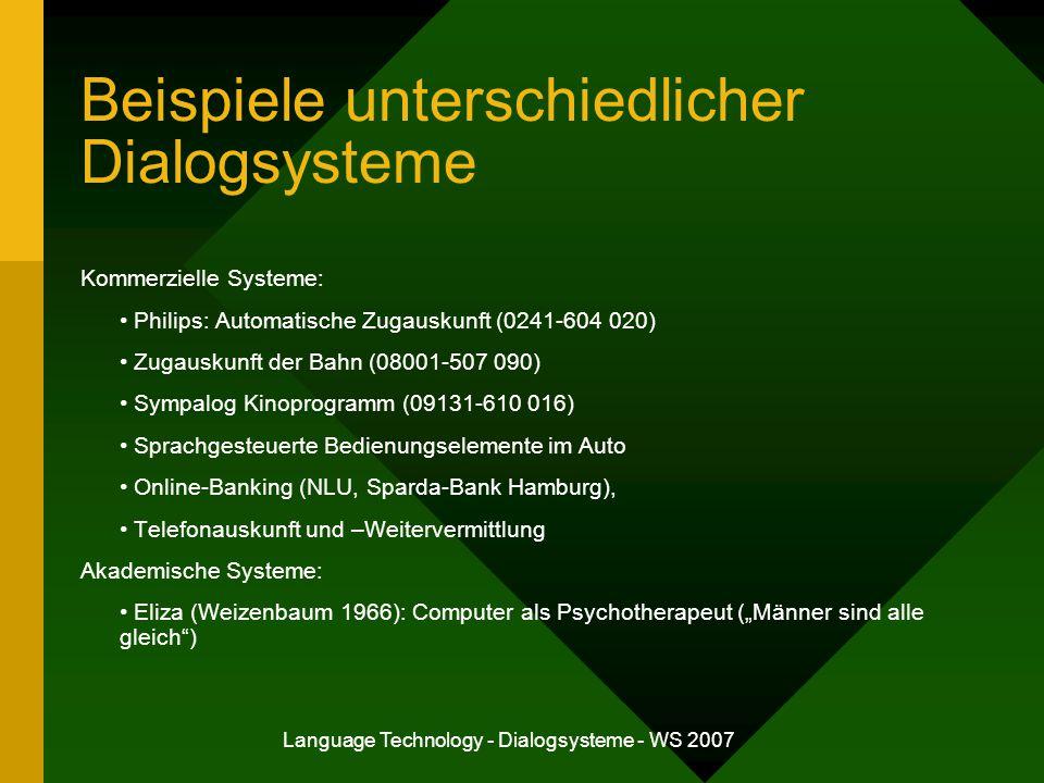 Beispiele unterschiedlicher Dialogsysteme