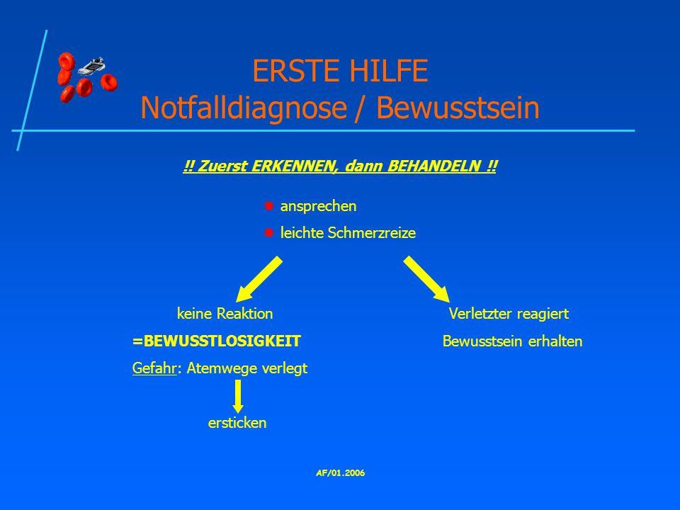 ERSTE HILFE Notfalldiagnose / Bewusstsein