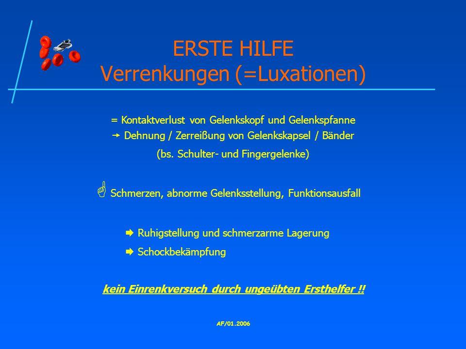 ERSTE HILFE Verrenkungen (=Luxationen)