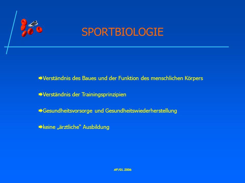 SPORTBIOLOGIE Verständnis des Baues und der Funktion des menschlichen Körpers. Verständnis der Trainingsprinzipien.