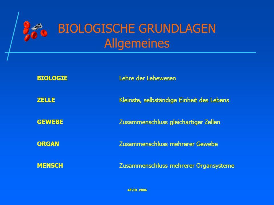 BIOLOGISCHE GRUNDLAGEN Allgemeines